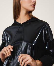 Maxi sweatshirt with patent leather inlays Black Woman 202LI2JAA-05