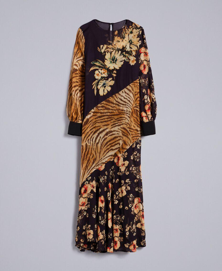 Robe longue avec mélange d'imprimés Imprimé Mélangé Fleurs & Tigre Femme TA825B-0S