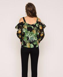 Blouse imprimée avec découpe aux épaules Imprimé Summer Fruits Noir Femme 201TT2461-03