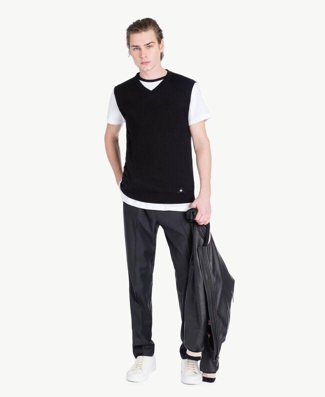Gilet coton cachemire Noir Homme US831D-05