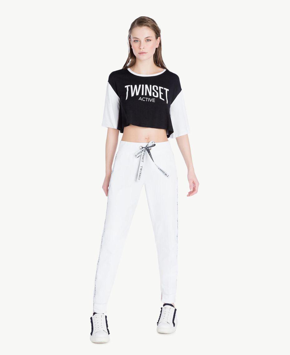 T-shirt court Bicolore Noir / Blanc Optique Femme LS87QQ-02