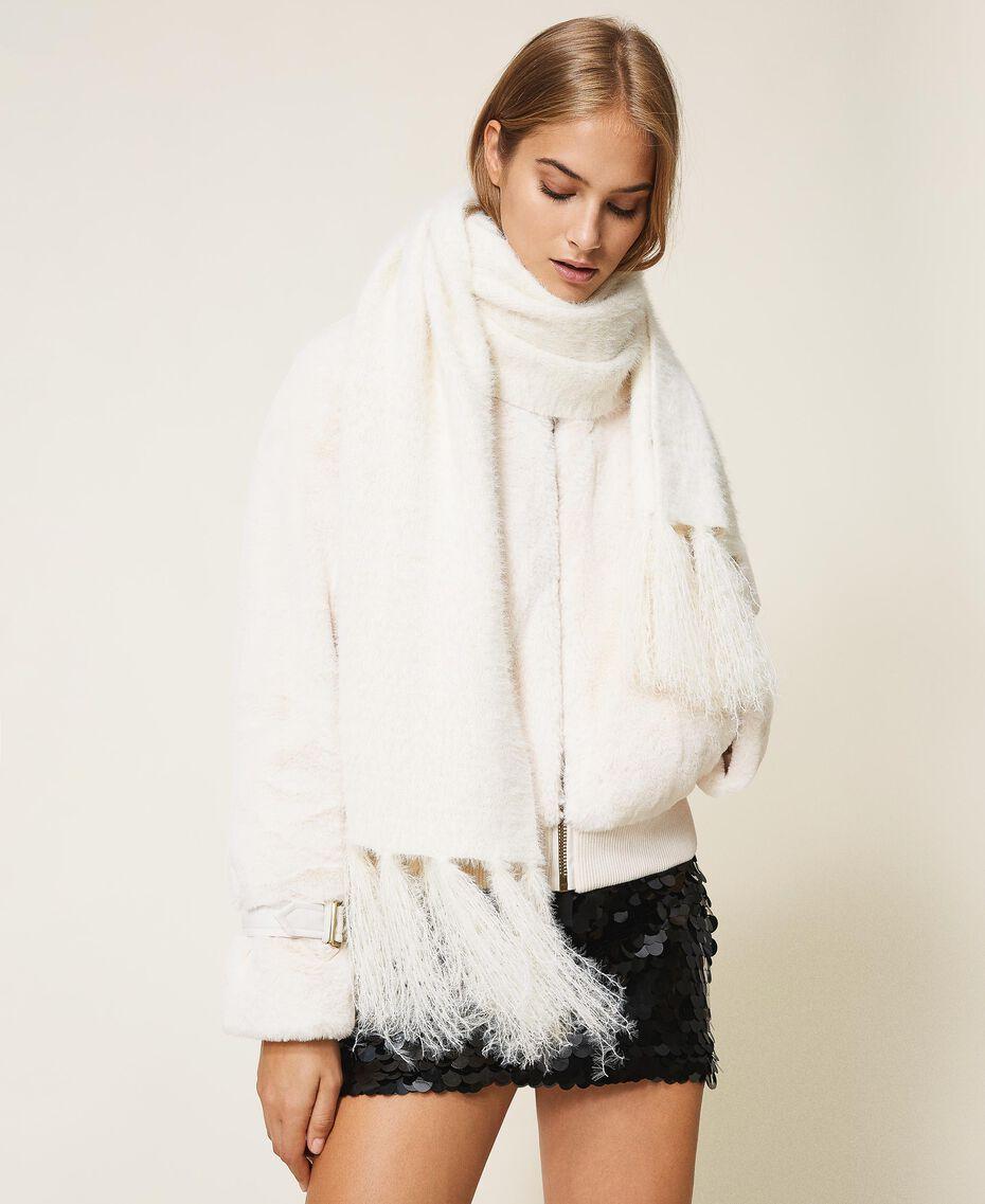 Mottled knit scarf Ivory Woman 202LI4ZSS-0S