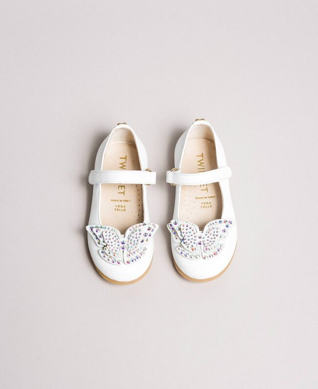 Leather ballerina shoes with butterfly White Child 191GCB130-04