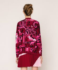 Printed cardigan with sequins Superpink Liberty Print Woman 201ST3162-04