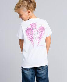 T-shirt unisex junior in cotone con stampa Bianco Bambina QA8TMP-06