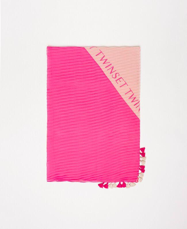 Étole bicolore avec logo Bicolore Blanc Neige/ Noir Femme 201TO5361-01