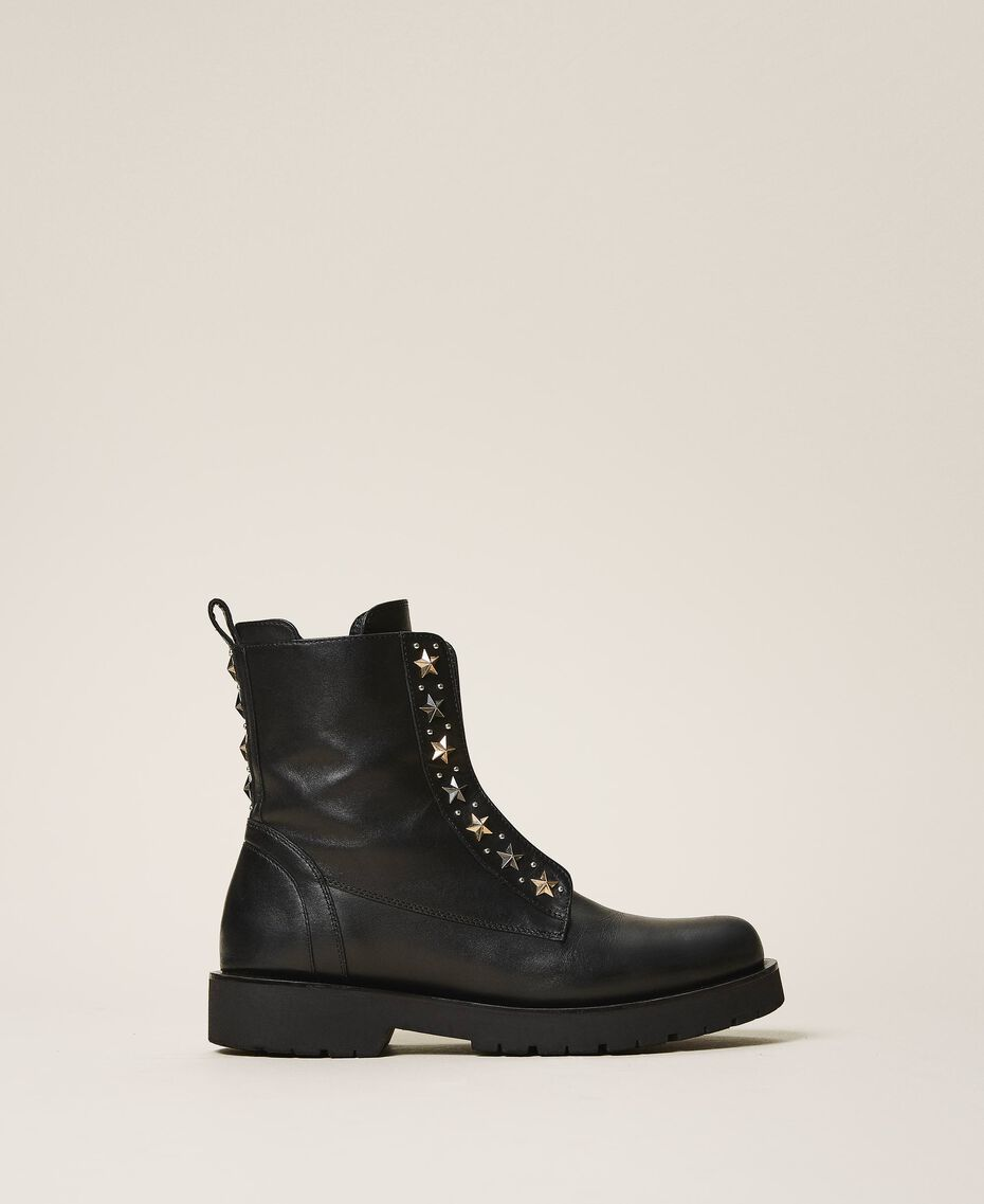 Leather combat boots with studs Black Woman 202TCP146-03