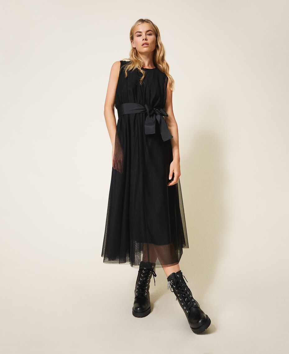 Tulle dress with satin belt Black Woman 202MP201C-02