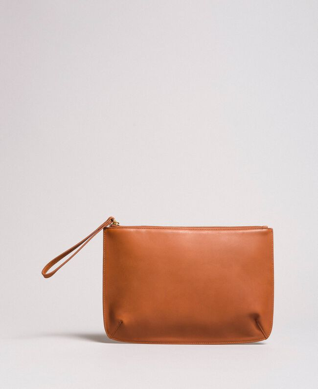 Studded leather clutch bag Leather Brown Woman 191TO8263-03