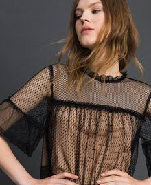 Tulle, Valenciennes lace and plumetis dress Two-tone Black / Nude Woman 192TP2331-04