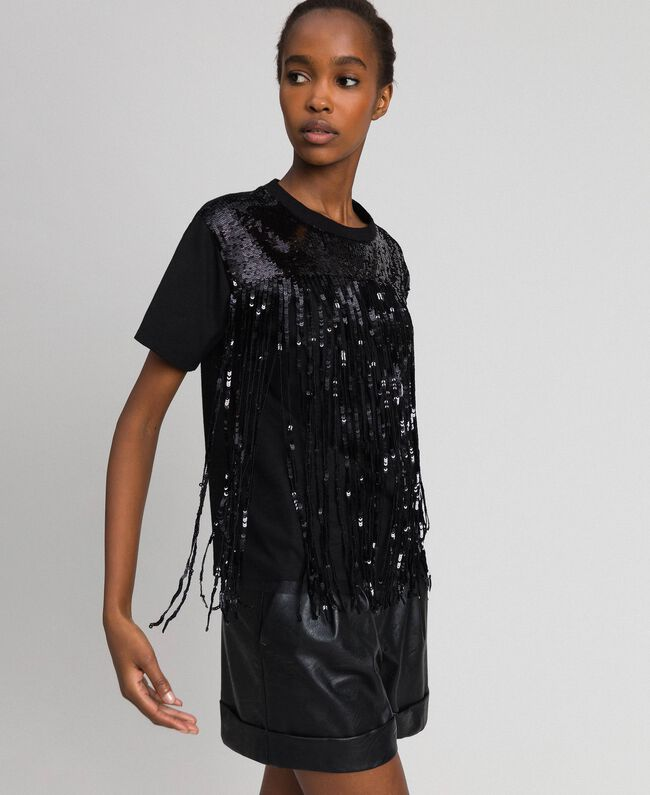 T-shirt with sequinned fringes Black Woman 192MT2350-04