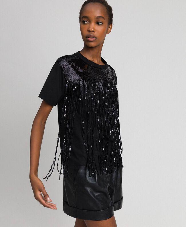 T-shirt avec franges en sequins Noir Femme 192MT2350-04