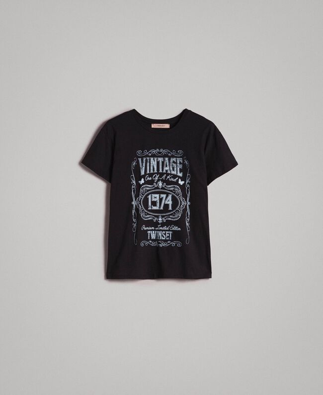 Washed T-shirt with print Black Woman 191TT2490-0S