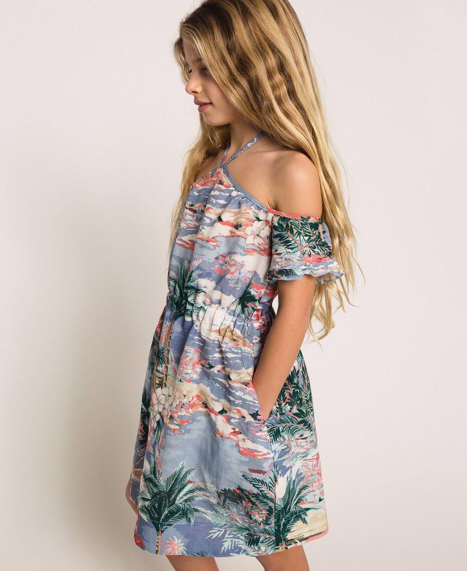 "Linen blend printed dress ""Hawaii"" Blue Print Child 201GJ2342-02"