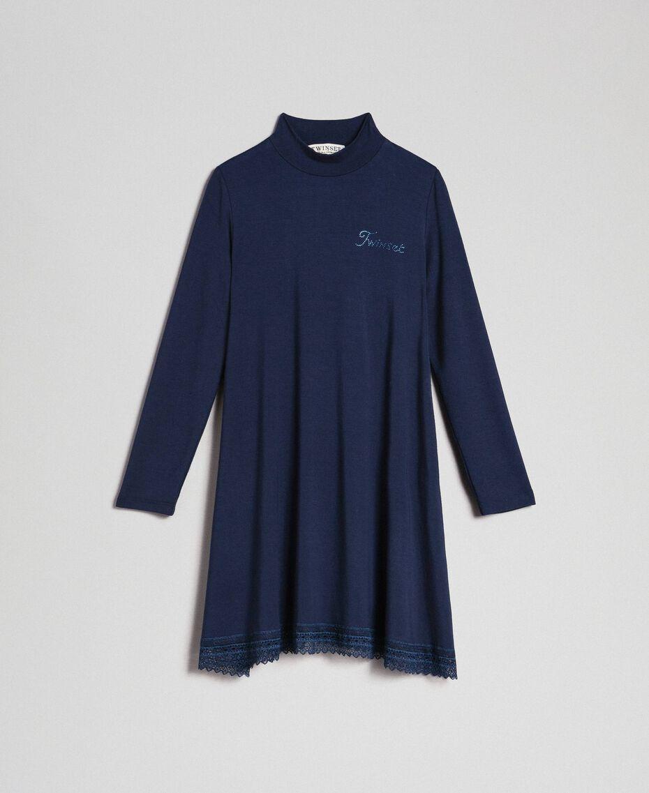 Dress with lace and rhinestone logo Blue Night Child GCN2F1-0S