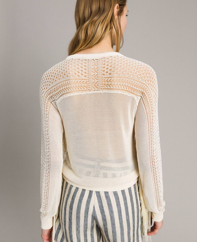 Pull à franges en filet et point de dentelle Écru Femme 191TT3063-04
