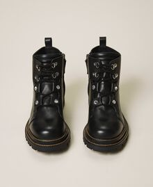 Leather combat boots with bezels Black Woman 202TCT120-05
