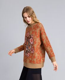 Maxi wool and jacquard lurex jumper Flower and Tiger Jacquard Woman TA83Z1-02
