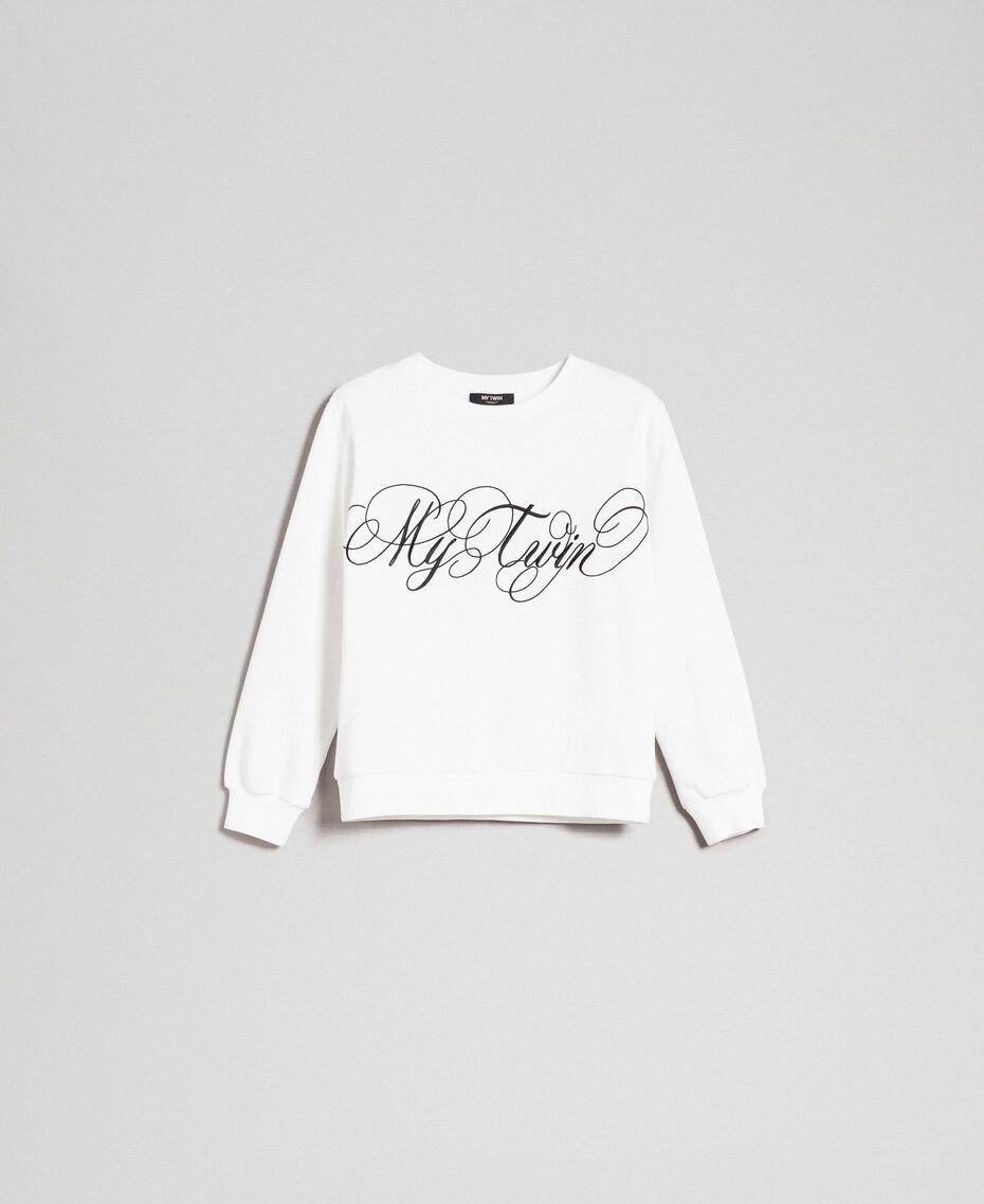 Felpa con logo ricamato Bianco Vaniglia Donna 192MT2302-0S
