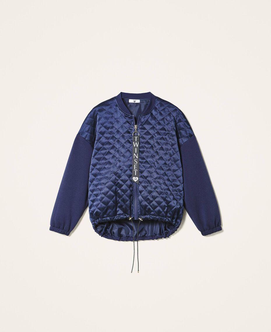 Satin and scuba bomber jacket Blackout Blue Woman 202LI2JQQ-0S