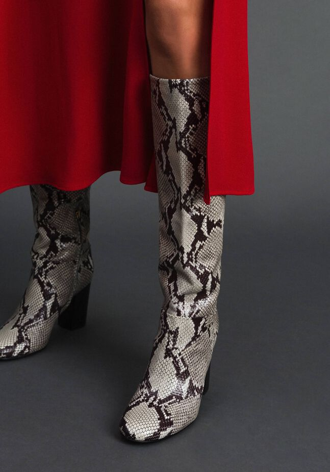 Stiefel aus Leder mit Animal-Dessin
