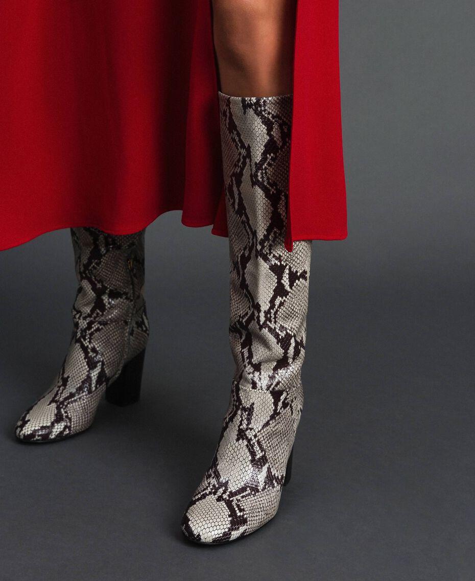 Кожаные сапоги с животным принтом Принт Питон Скала женщина 192TCT010-0S