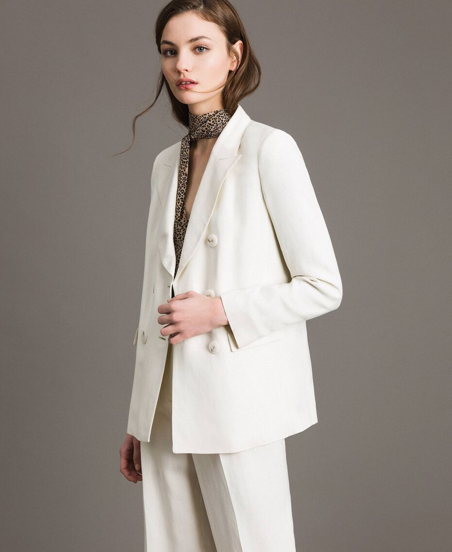 Linen blend blazer White Snow Woman 191TP2203-05