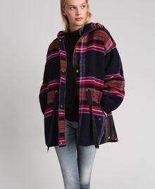 Parka en drap de laine mélangée à carreaux Carreaux Bleu Denim Femme 192MT2251-05