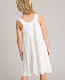 Pleated georgette and lace dress Off White Child 191GJ2QA2-04