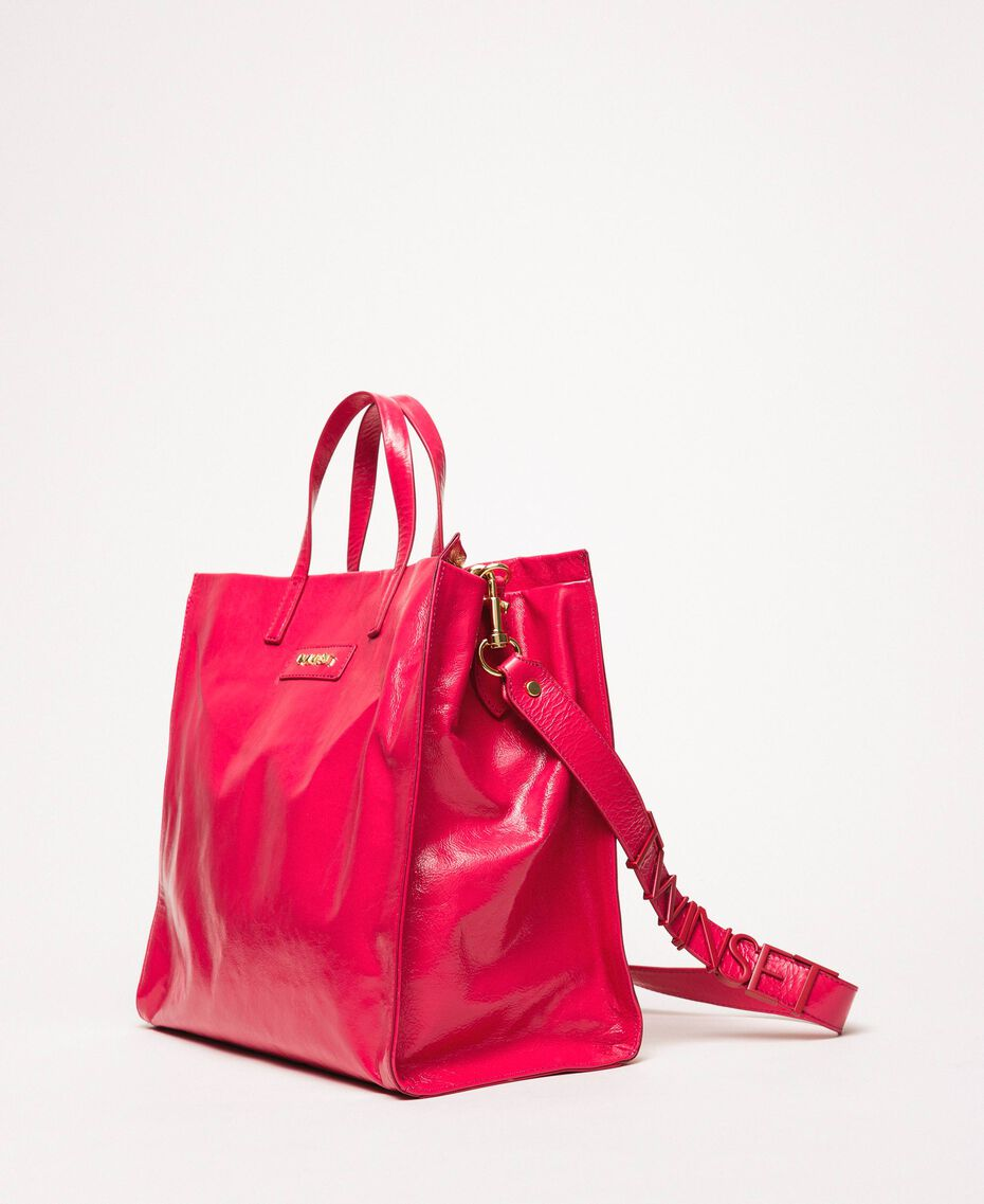 """Large leather shopper with logo """"Jazz"""" Pink Woman 201TO8090-02"""