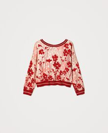 "Floral jumper-cardigan Peach / ""Cherry"" Red Flowers Animal Print Woman 202TP3500-0S"