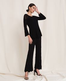 Lace stitch jumper Black Woman 201TP3211-02