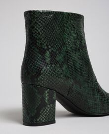 Leather ankle boots with animal print Dark Green Python Print Woman 192TCP12Q-03