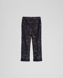 Flare-Fit-Hose aus Makrameespitze Sequoia-Beige / Nachtblau Frau 192ST208D-0S