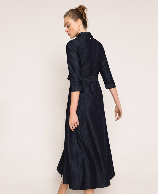 Длинное джинсовое платье-рубашка Синий Деним женщина 201MP2401-04