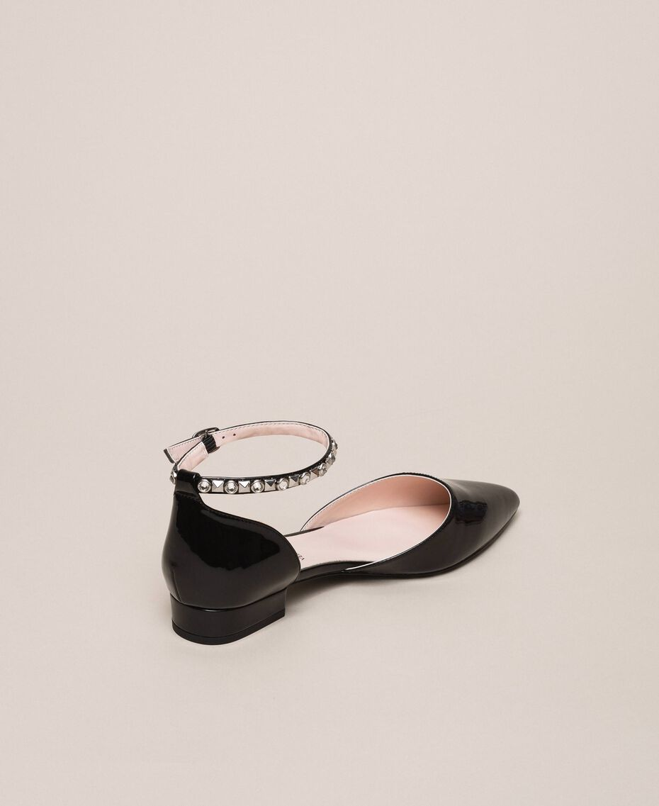Patent leather ballerina pumps with rhinestones Black Woman 201MCP01G-03