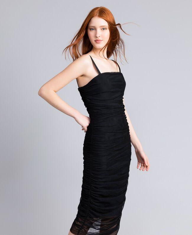 Robe fourreau en tulle Noir Femme QA8TH1-01