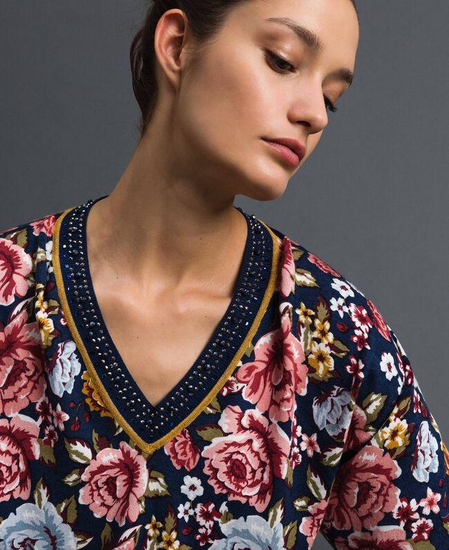 Pull cropped avec imprimé et encolure en lurex Imprimé Fleurs / Graffiti Bleu Femme 192MP3231-04