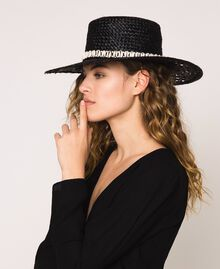 Straw hat with shells and rhinestones Black Woman 201TO5401-0S