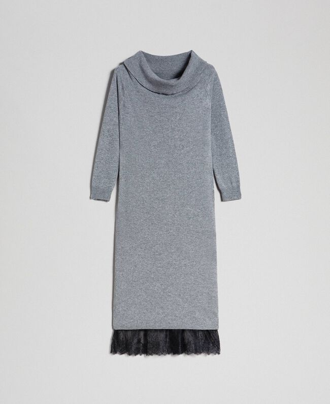 Cashmere blend dress and slip with lace Medium Melange Grey / Black Woman 192TT3091-0S