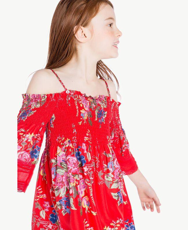 Robe fleurs Imprimé Fleurs / Rouge Grenadier Enfant GS82E1-05