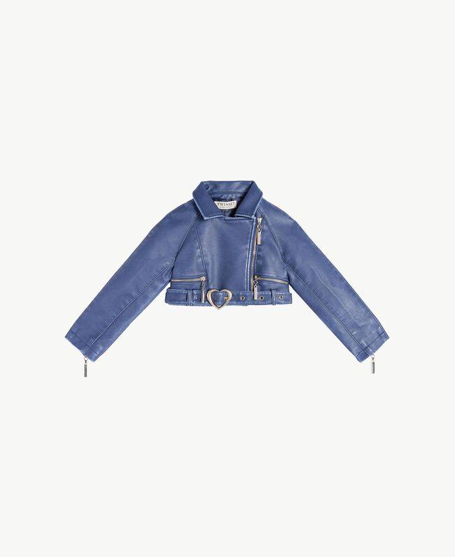 Faux leather biker jacket Ocean Blue Child FS82YA-01