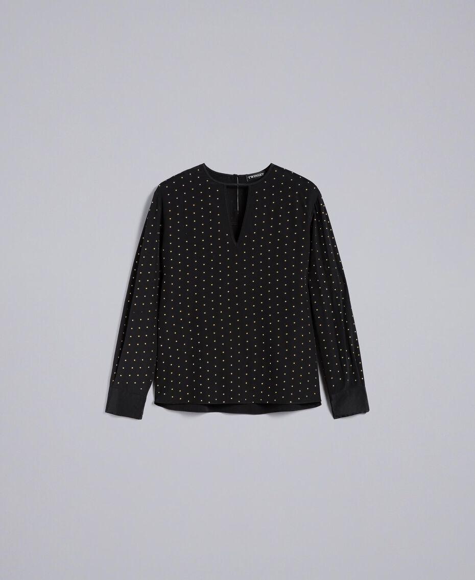 Bluse aus Seide mit Nieten Schwarz Frau PA82EX-0S