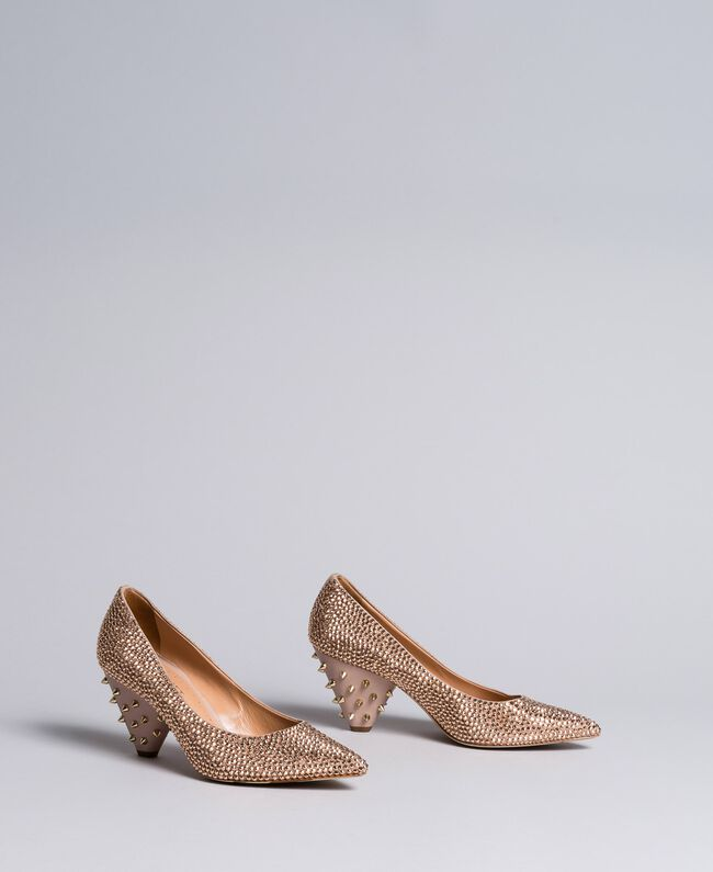 """Suede rhinestone-clad court shoes """"Pale Pink"""" Woman CA8TLC-03"""