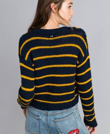 "Mini cardigan with diamond pattern and stripes Multicolour Night Blue / ""Golden Yellow"" / Denim Blue Woman YA83L1-03"