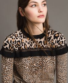 Animal print top with lace Mixed Animal Print Woman 191TP3413-04