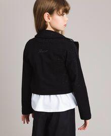 Fleece biker jacket with rhinestones Black Child 191GJ2460-03