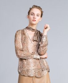 Camicia in chiffon di seta animalier Stampa Camel Snake Donna PA829D-02