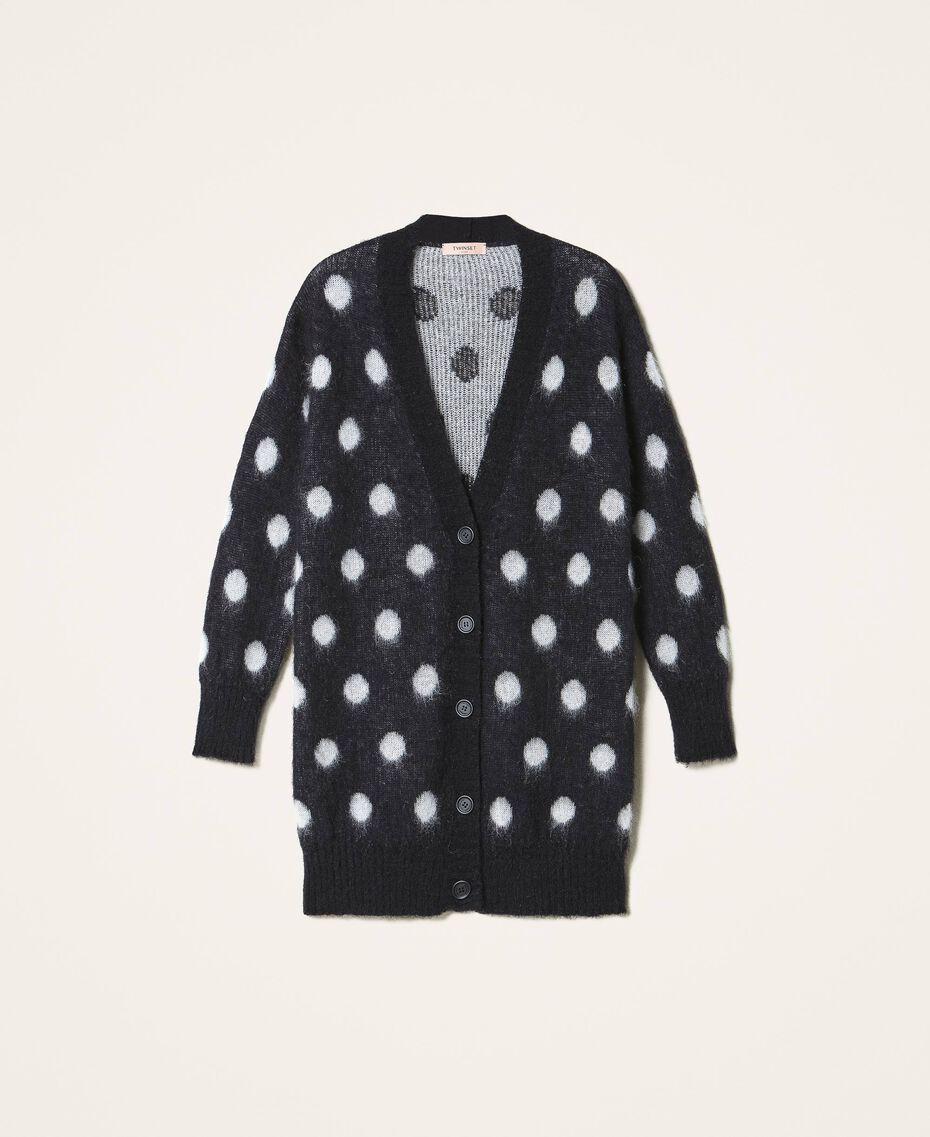 Polka dot jacquard maxi cardigan Two-tone Black / Snow White Jacquard Woman 202TT3222-0S