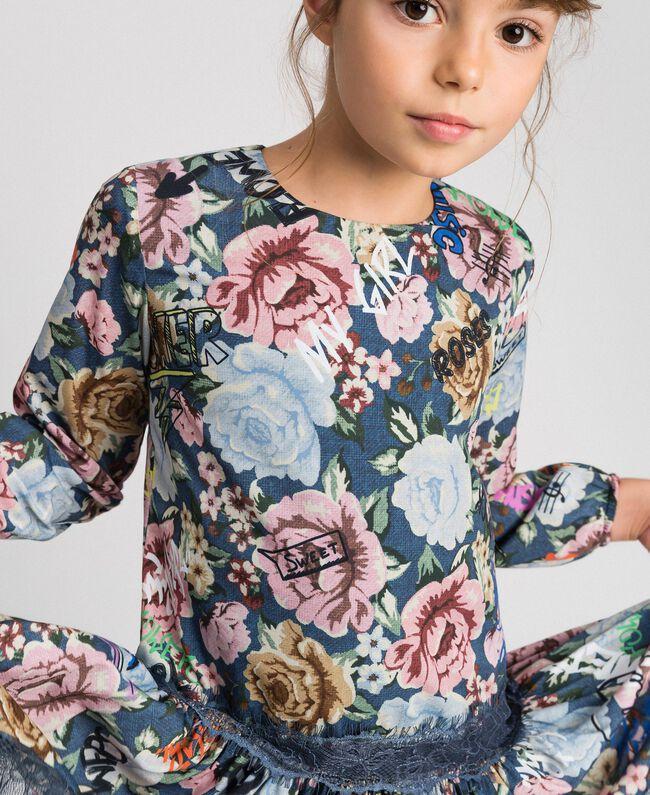 Robe en crêpe avec imprimé floral et graffiti Imprimé Graffiti Enfant 192GJ2491-04